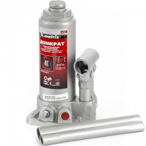 products/Домкрат гидравлический бутылочный, 4 т, высота подъема 194-372 мм, в пластиковый кейсе Matrix Master, арт. 50754