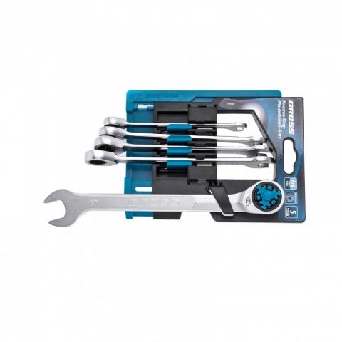 products/Набор ключей комбинированных трещоточных, количество зубьев 100, СRV, 5 шт, 8- 17 мм Gross, арт. 14858
