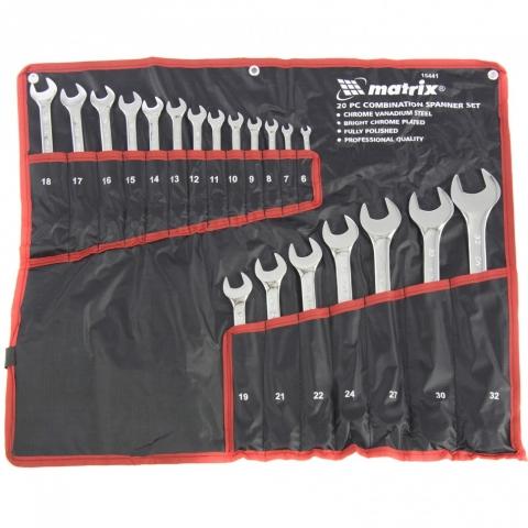 products/Набор ключей комбинированных 6-32 мм, 20 шт, CrV, полированный хром Matrix, арт. 15441