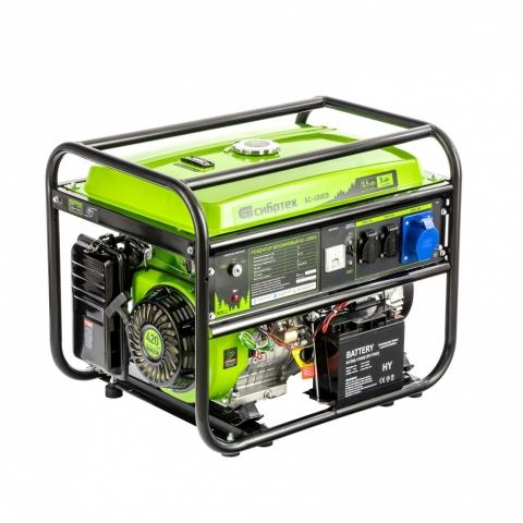 products/Генератор бензиновый БС-6500Э, 5,5 кВт, 230В, 4-х такт., 25 л, электростартер// Сибртех, 94548