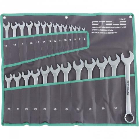 products/Набор ключей комбинированных 6-32 мм, 26 шт., CrV, матовый хром// Stels, 15431