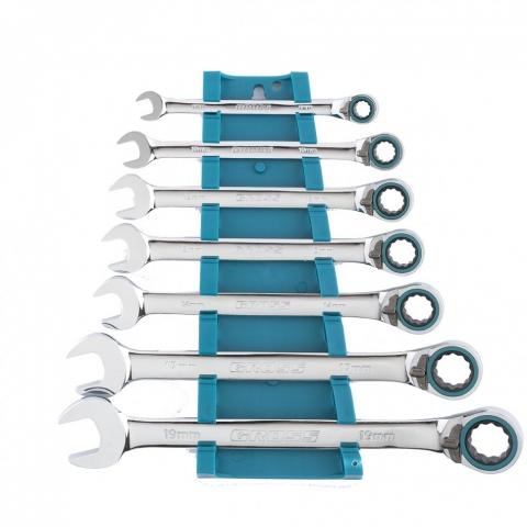 products/Набор ключей комбинированных с трещоткой, 8 - 19 мм, 7шт., реверсивные, CrV// Gross, 14892