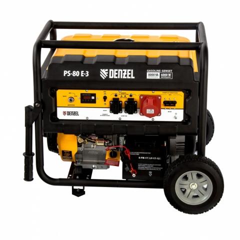 products/Генератор бензиновый PS 80 E-3, 6,6 кВт, 400В, 25л, электростартер// Denzel, 946954