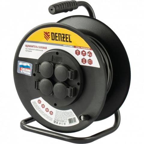 products/Удлинитель силовой на стальной катушке, ПВС 3х2,5 мм, 20м, 4 розетки, 16А, тип УХз16// Denzel, 95983