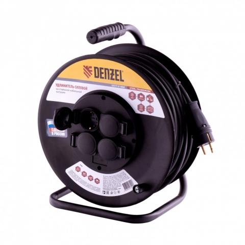 products/Удлинитель силовой на стальной катушке, КГ 3х1,5 мм, 50м, 4 розетки, 16А, тип УХз-16// Denzel, 95988
