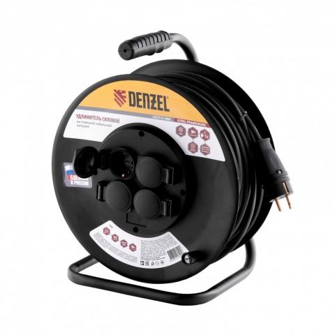 products/Удлинитель силовой на стальной катушке, КГ 3х2,5 мм, 30м, 4 розетки, 16А, тип УХз-16// Denzel, 95990