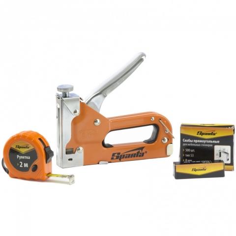 products/Набор: степлер мебельный регулируемый, скобы 500 шт, рулетка 2 м, тип скобы 53, 4-14 мм Sparta, арт. 42003