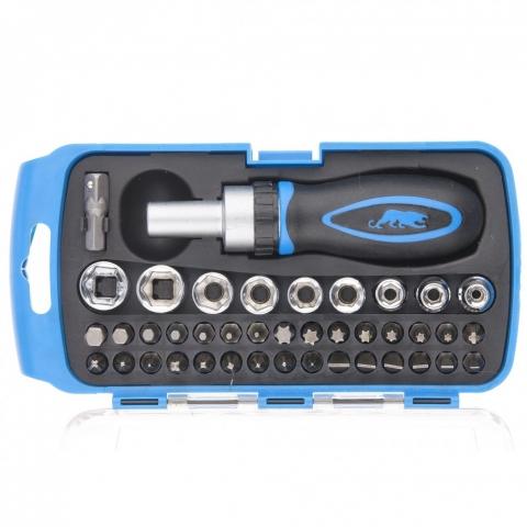 products/Отвертка реверсивная с набором бит и торцевыми головками, 41 шт Барс, 13358