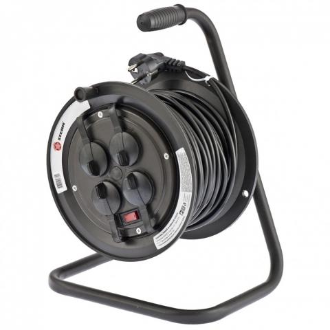 products/Удлинитель силовой на кабельной катушке, серия EB, 25м, 4 розетки с крышкой, IP44 // Stern 95707