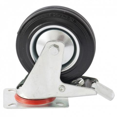 products/68724 Колесо поворотное с тормозом, диаметр 200 мм, крепление платформенное// Сибртех